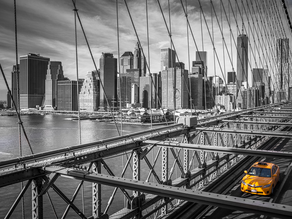 Cab on Brooklyn Bridge 4 by Assaf Frank