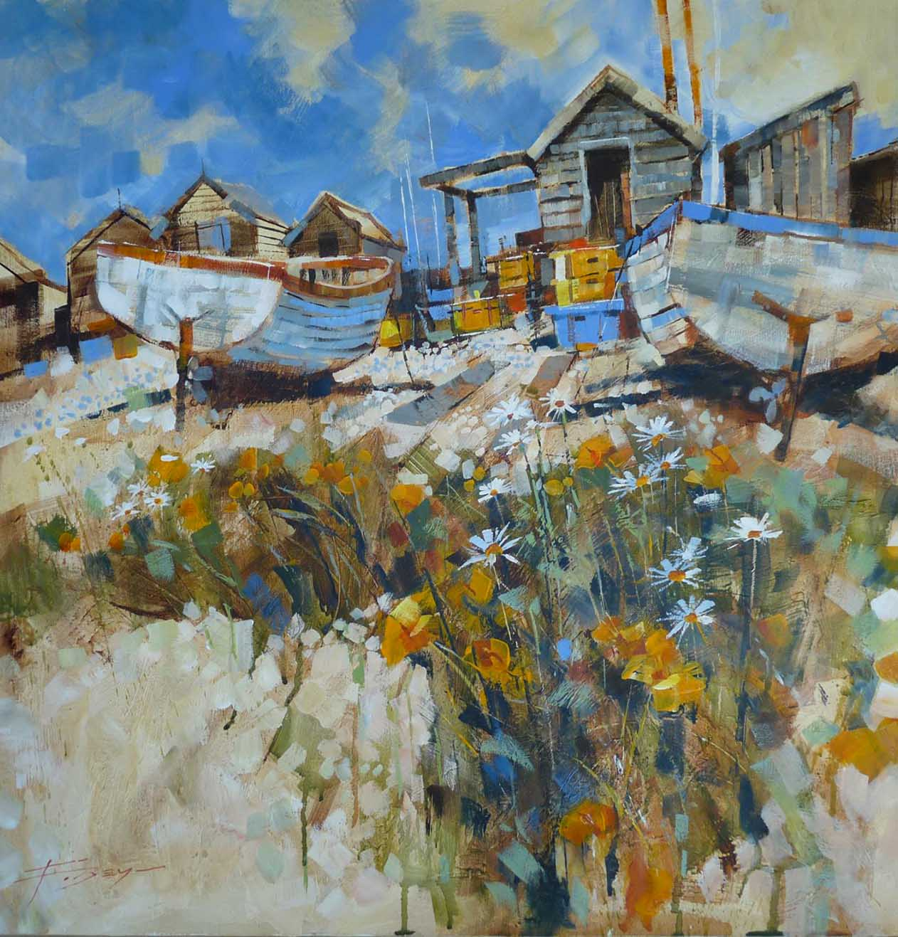Daisies amongst the pebbles by Chris Forsey