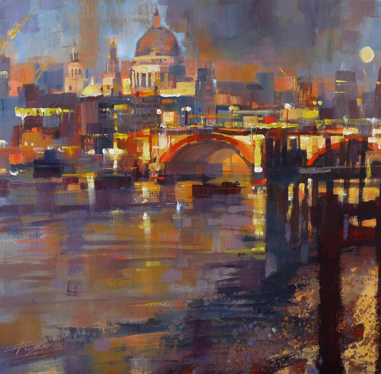 Moon rise, Thameside by Chris Forsey
