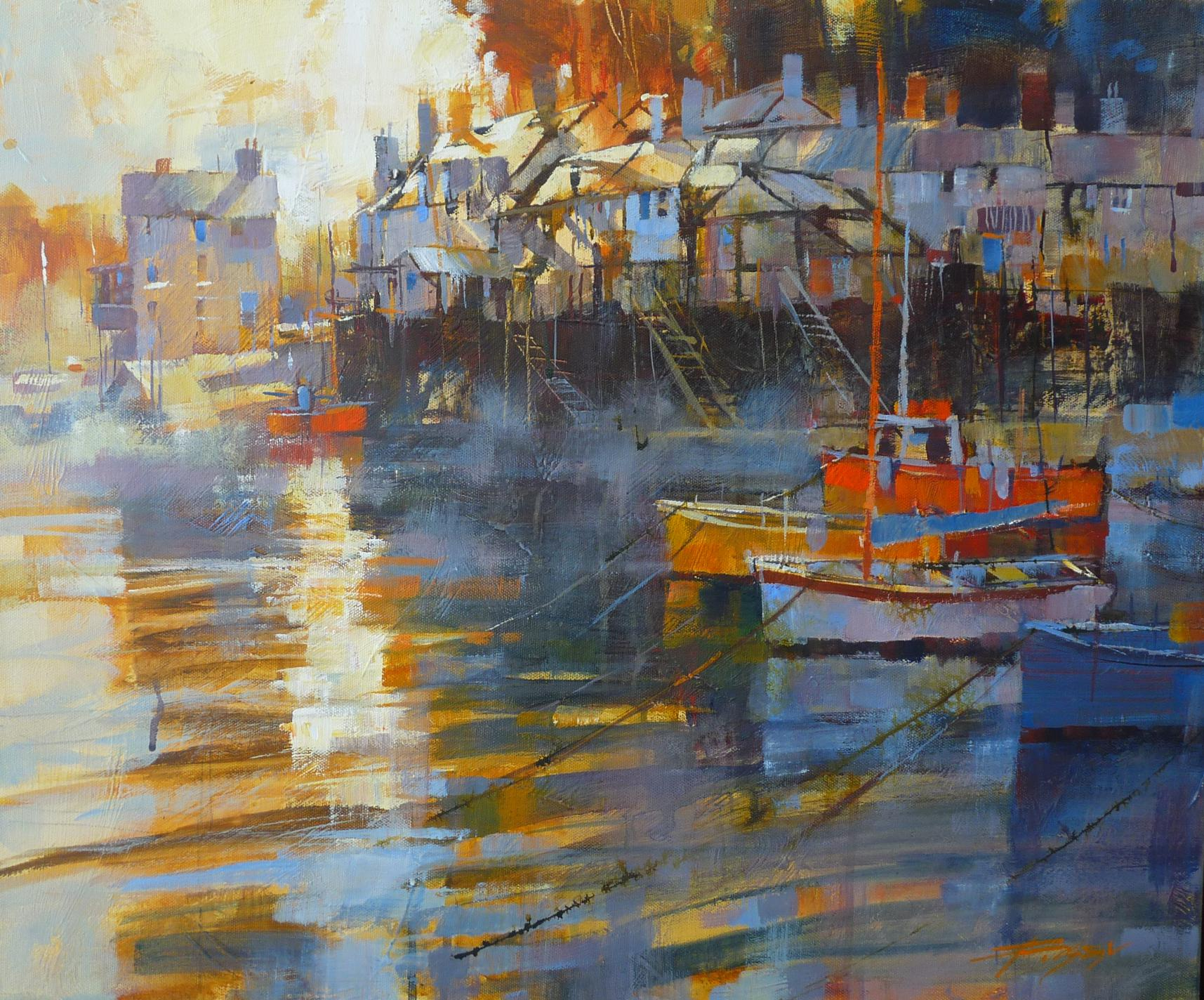 Moored in the mist, Fowey by Chris Forsey
