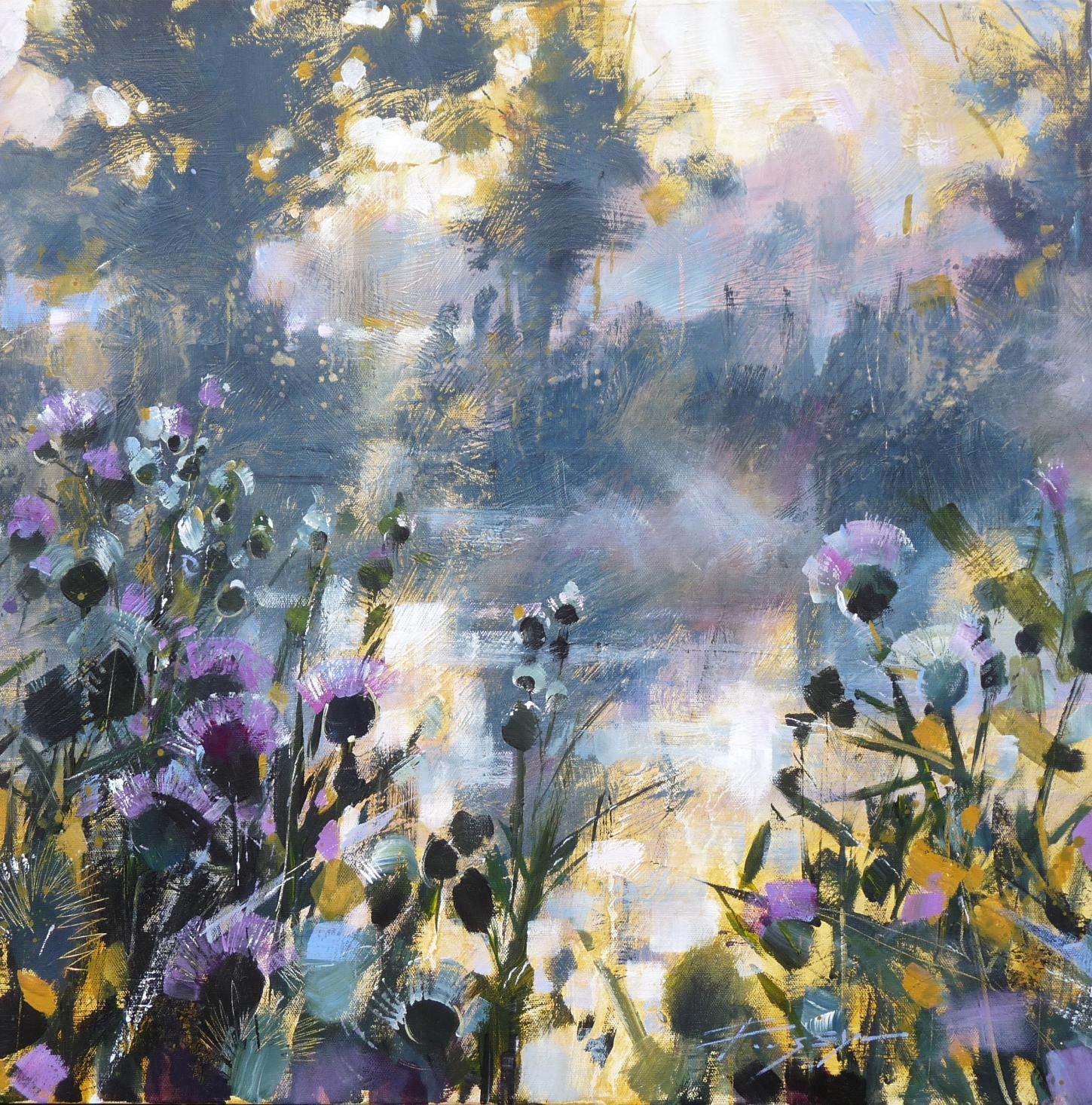 Thistles and mist on the water by Chris Forsey