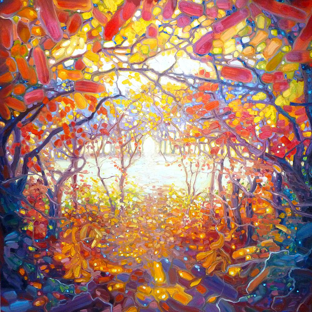 Clearing through an Autumn wood by Gill Bustamante