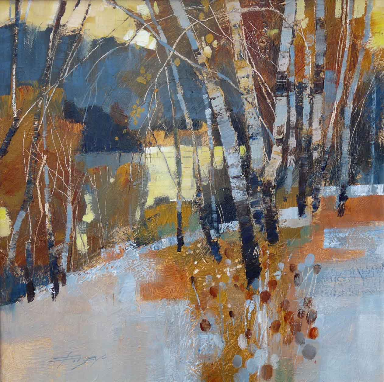 Birch, frost and winter lake by Chris Forsey