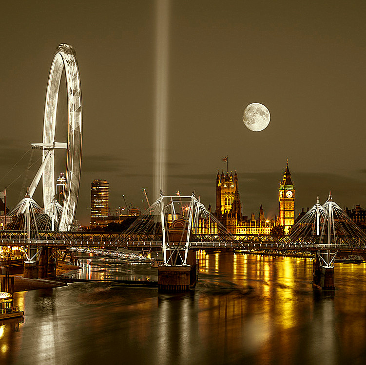 Moon over Westminster  by Assaf Frank