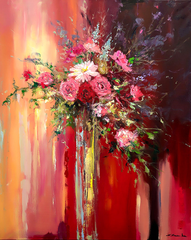 Blushing Roses by Ewa Czarniecka
